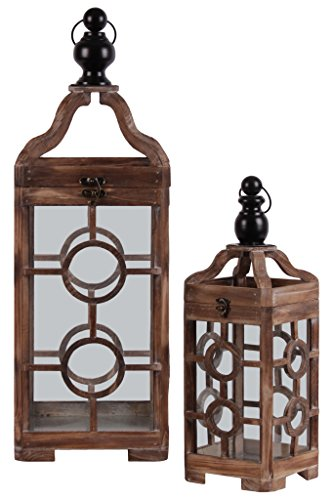 Urban Trends 54203 Wood Square Lantern with Metal Round Finial Top/Ring Handle/Double Circle in The Center Design Body Natural Finish (Set of 2), Brown, 2 Piece