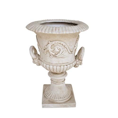 Great Deal Furniture JOA Chalice Garden Urn Planter, Roman, Botanical, Antique White Lightweight Concrete