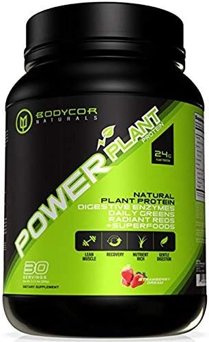 Bodycor PowerPlant All Natural Plant Based Protein 960 Grams – Strawberry Dream , Powerful Dietary Supplement with Digestive Enzymes, Greens Superfoods, 100 Pure Vegan Formula