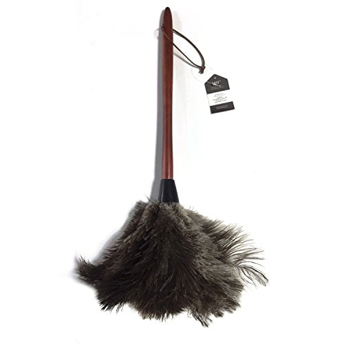 AAYU Brand Premium Professional Feather Duster   Natural duster for cleaning and Feather Moping   Genuine Ostrich Feather Duster with Wooden Handle   Eco-Friendly   Easy to Clean Dust (45 cm) (Professional Duster)