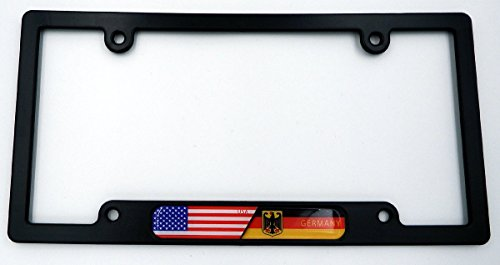 USA / Germany Black Plastic Car License plate frame w/ domed decal insert flag