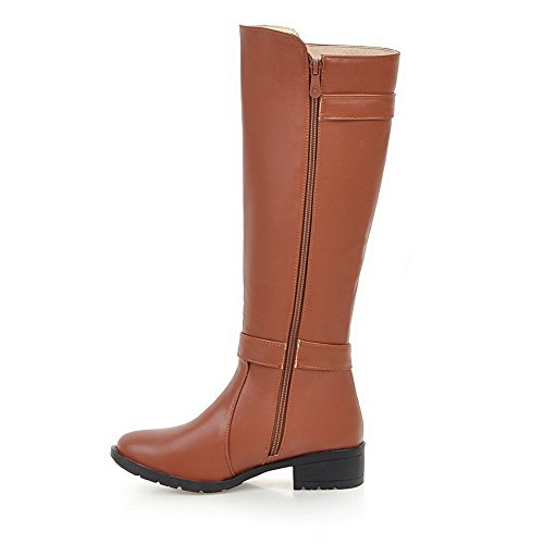 Allhqfashion Women's Zipper Round Closed Toe Low-Heels PU High-top Boots Brown kRux7e7i