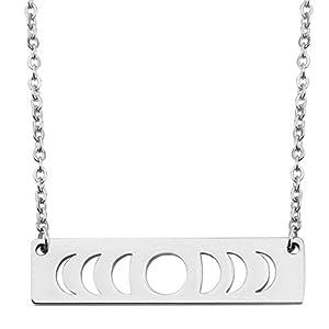 Moon Phase Necklace Bar Pendant Triple Goddess Jewelry
