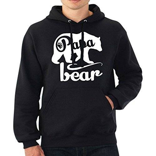 fresh tees Papa Bear Hoodie Father's Day Hoodie Father Day Gift (2X- Large, Black)