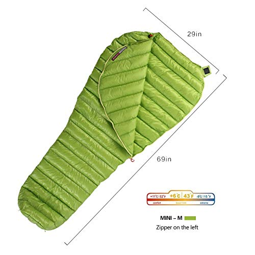 WIND HARD Goose Down Sleeping Bag Ultralight Mummy Bag with Lightweight Compression Sack 800 Fill Power 11 Degree 52F ()