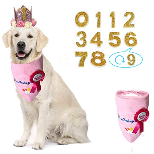 KEVIN-KW Dog Birthday Boy Bandana Scarfs-Crown Dog Birthday Hat 0-9 Figures Charms Grooming Accessories Pack of 1 Happy Birthday Award Badge (Rose Gold, Girl)
