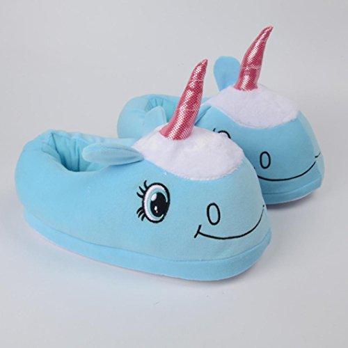 Pantofole Ciabatte Unicorno Cielo Vovotrade® Peluche Peluche Blu Inverno U4ZwqUgx