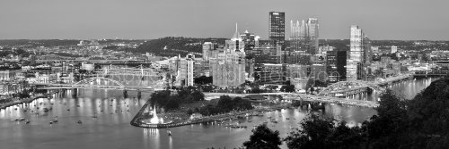 Pittsburgh Skyline PHOTO PRINT UNFRAMED DUSK Downtown City Black & White BW Art Print Version 11.75 inches x 36 inches Photographic Panorama Poster Picture Standard Size (Pittsburgh Photo)