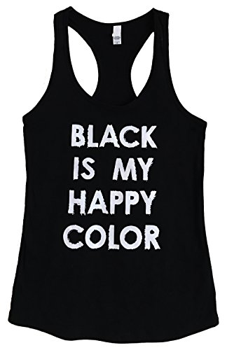 The Bold Banana Women's Black is My Happy Color Tank Top - XL - Black