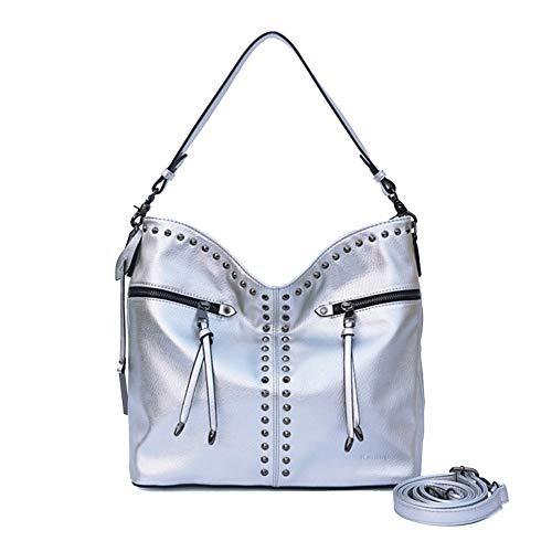 in Top Large Donna argento Onzama con Handbags Rivetto Punk borchie borchie Hobo con Capacità Shoulder Pxq01U