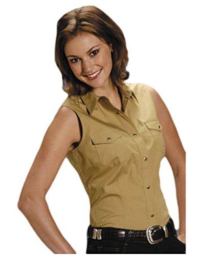 Roper Women's Stretch Poplin Sleeveless Shirt Khaki - Roper Shirt Sleeveless Ladies