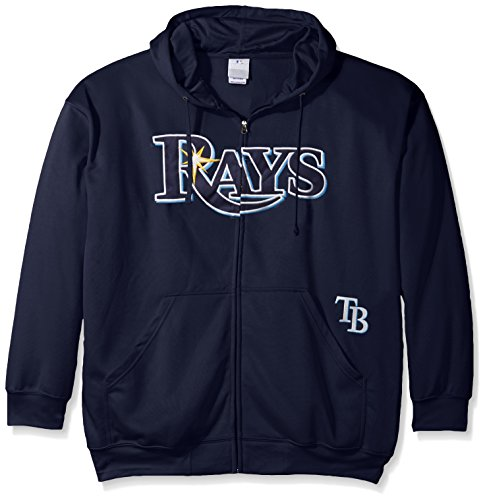 MLB Tampa Bay Rays Men's Full Zip Poly Fleece with Wordmark Chest with Logo near Pocket, 2X/Tall, Navy ()