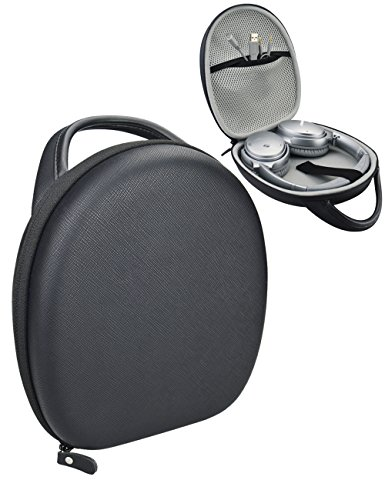 Headphones Carrying Case for QC3, QC25, QC2, QC15, QC35, Around-Ear AE2w, AE2i, AE2, TP-1, SoundLink On-Ear, OE, OE2, OE2i, (Saffiano Matte Black Leather PU)