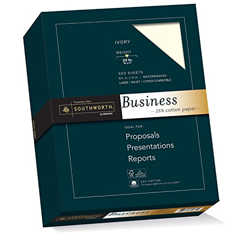 "Fine Ivory Business Paper (Southworth 25% Cotton Business Paper, 8.5"" x 11"