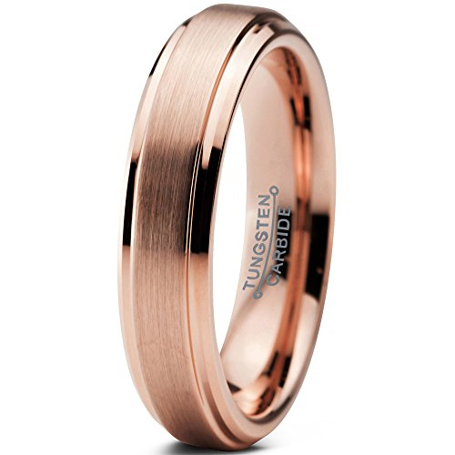 Charming Jewelers Tungsten Wedding Band Ring 4mm for Men Women Comfort Fit 18K Rose Gold Plated Beveled Edge Brushed Polished