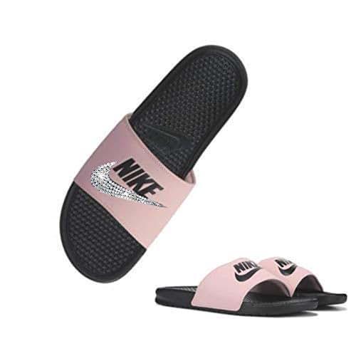 Women's NIKE SLIDES with Swarovski Crystals ALL BLACK and PINK Benassi JDI Slides Custom Bedazzled Slip On Sandal Shoes