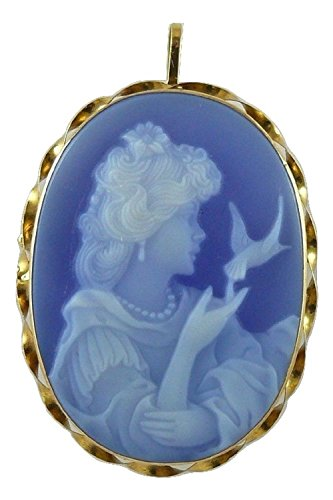 Cameo 30MM Blue Agate Lady Pin and Pendant 18k Yellow - Cameo Pendant Agate Blue
