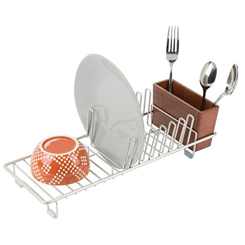 mDesign Compact Kitchen Dish Drainer Rack for Drying Glasses