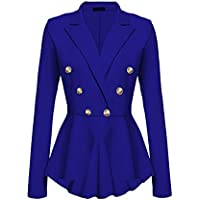 Women Lapel Office Work Blazer Double Breasted Button Peplum Asymmetry Coat