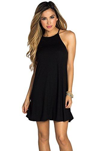 High Society Dress (Babe Society Women's High Neck Halter Short Tunic Trapeze Dress Small)