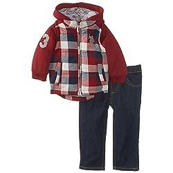 U.S. Polo Assn. Baby Boys' Fleece Vest Hoodie with Denim Pant