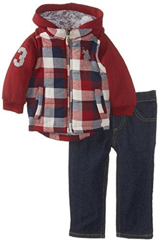 U.S. Polo Assn. Baby Boys' Fleece Vest Hoodie with Denim Pant, Burgundy, 18 Months