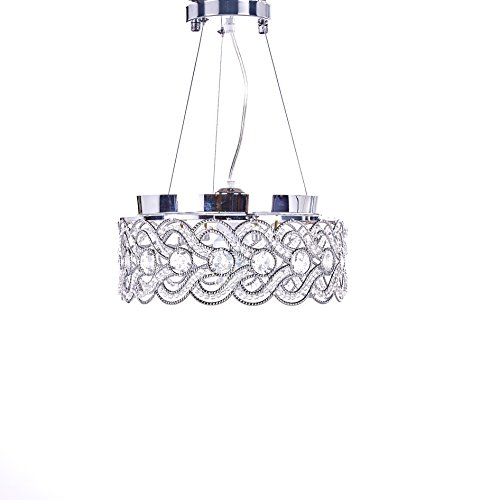 SwanHouse Flush Mount Pendant Ceiling Lighting Chandelier Silver Modern Lamp KPP W15 x H9 by SwanHouse