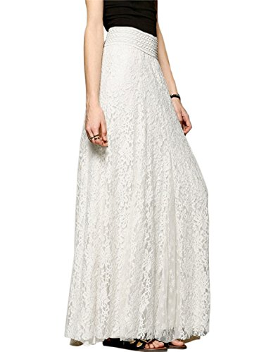 Tanming Women's Fashion High Elastic Waist A-Line Floral Lace Maxi Long Skirts