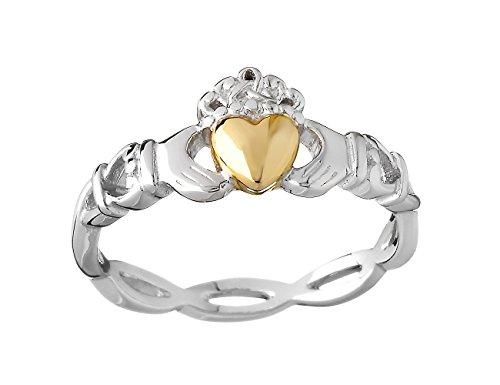 Irish Claddagh Ring Sterling Silver & 10k Yellow Gold Sz 7