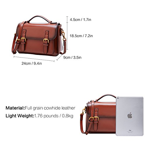 Long Strap Adjustable Purse Crossbody Bag Daily Shoulder for with BOYATU Brown Women Bag Leather BqnS7qFv