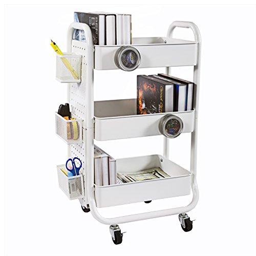DESIGNA 3-Tier Metal Rolling Storage Cart with Utility Handle, Ideal for Bedroom Kitchen Bathroom Garage Office Arts and Crafts Or Nursery, White by DESIGNA