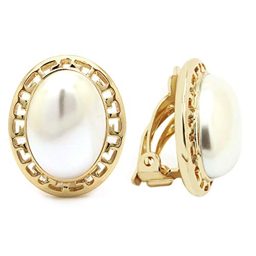 Sparkly Bride Clip On Earrings Simulated Pearl Oval Greek Key Gold Plated Women Fashion ()