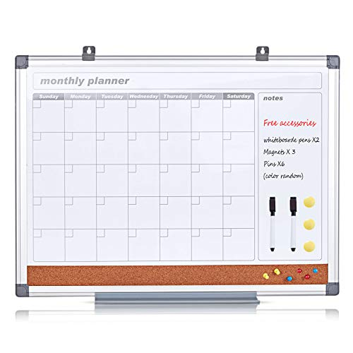 Magnetic Whiteboard Calendar Monthly Board with 2 36x24inches, Cork