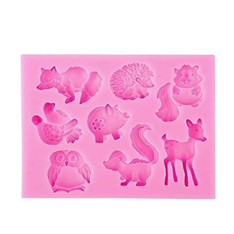 Teabelle Lovely Animal Forma Silicona Fondant Moldes de Pastel Herramienta Decor Cocina: Amazon.es: Hogar