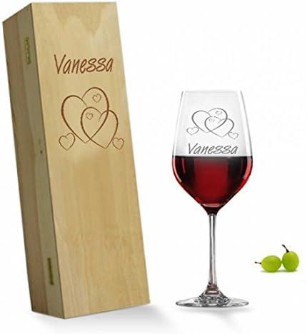 Rojo Copa de vino en caja de madera: Amazon.es: Hogar