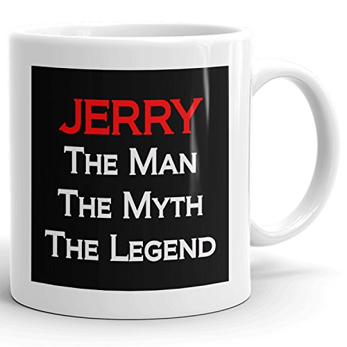 Jerry Coffee Mugs - The Man The Myth The Legend - Best Gifts for men - 11oz White Mug - Red