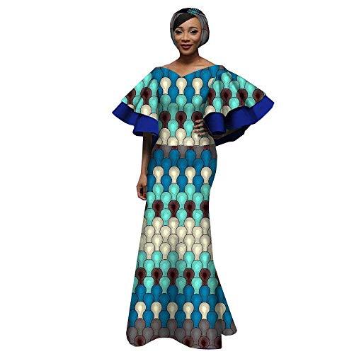 African Dresses for Women Party wear Flower Floral Fashion Culture Vintage+Headwrap 35×45 inch 253 1 L ()