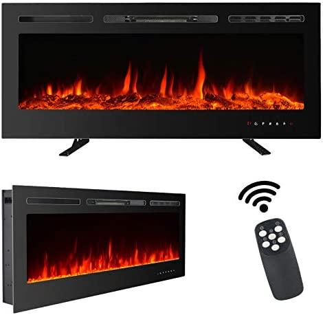 Maxxprime 50 Electric Fireplace Free Standing Recessed And Wall Mounted Fireplace Insert Heater With Touch Screen Control Panel Faux Fire Log Crystal Options 9 Flamer Color 750 1500w Kitchen Dining