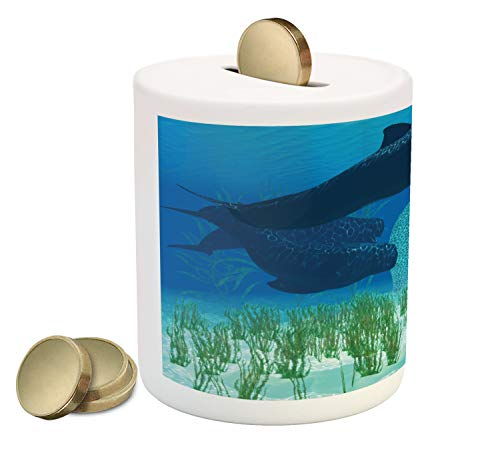 Lunarable Ocean Whale Piggy Bank, Pilot Breed Mammal Fish and Rockfish Underwater with Some Sea Weeds, Printed Ceramic Coin Bank Money Box for Cash Saving, Cobalt Blue Multicolor