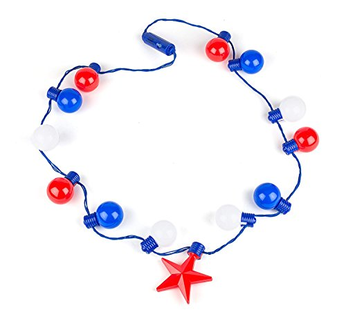July 4th Independence Day Party Toy Decoration - Patriotic Light up Super Sized Red Blue and White Necklace - 20'' By Neliblu (Pack of 2) by Neliblu