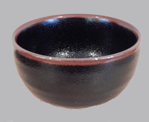 Authentic Glazed Ceramic Rimmed Japanese Bowl
