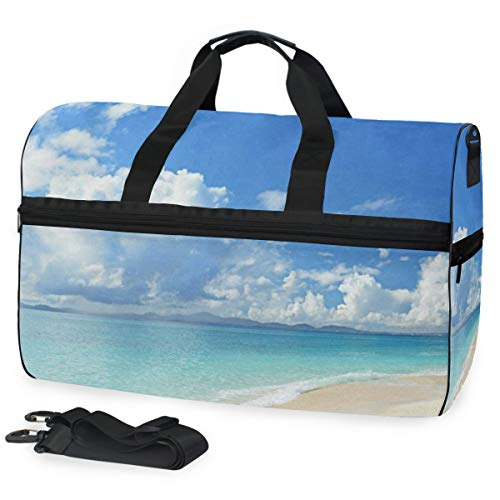 Gym Bag Beach Seawave Sunshine Sport Travel Duffel Bag with Shoes Compartment Large Capacity for Men/Women