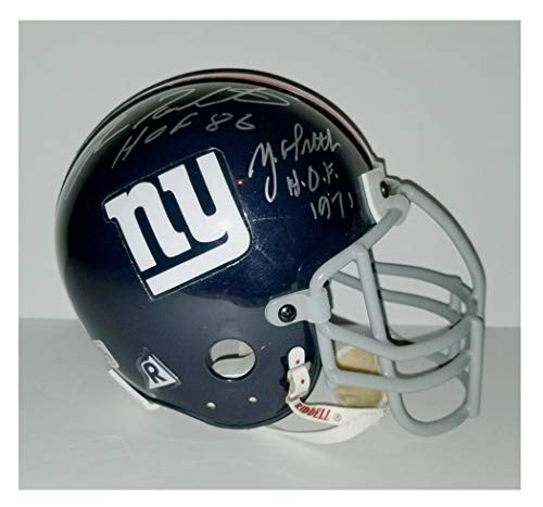 (Fran Tarkenton Y.A. Tittle New York Giants autographed hand signed throwback mini helmet)