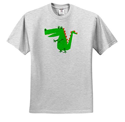 3dRose All Smiles Art - Animals - Funny Cute Alligator Primitive Art Cartoon - Toddler Birch-Gray-T-Shirt (4T) (ts_309638_33) ()