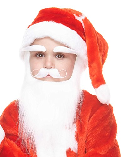 Mustaches Self Adhesive, Novelty, Santa Claus Beard, and Eyebrows, Saint Nicholas Costume Accessory for Kids]()