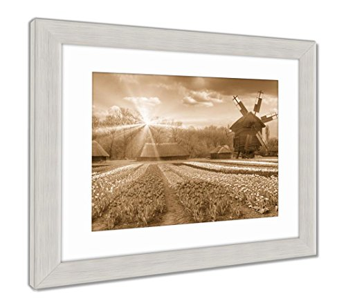 Fields of Tulips in Village, Wall Art Home Decoration, Sepia, 30x35 (Frame Size), Silver Frame, AG5997697 ()