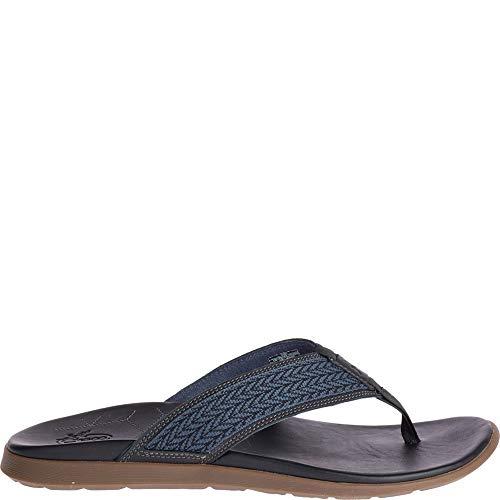 Chaco Mens Leather Flip Sandals - Chaco Men's Marshall Flip-Flop, Basket Midnight, 8 Medium US