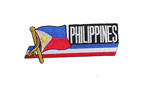 NEW PHILIPPINES SIDEKICK WORD COUNTRY FLAG IRON ON PATCH CREST BADGE ..