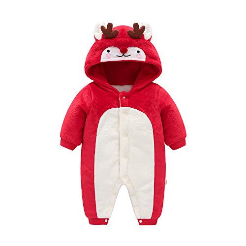 Baby Boy and Girl Deer Hoodie Romper Costume,Infant Toddler Long Sleeve Red Cotton Jumpsuit -