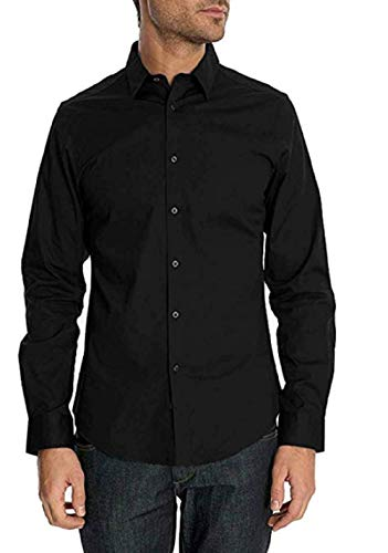 Ben Sherman Mens Long-Sleeve Dress Shirt (15 32/33, Black)